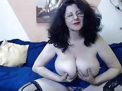 Big Boobs, Brunette, Granny, Mature, Webcam
