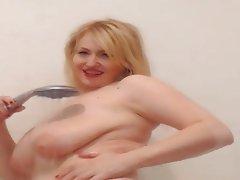 Blonde, Big Boobs, Shower, Mature