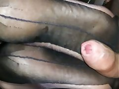 Cumshot, Foot Fetish, Stockings