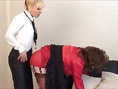 BDSM, Femdom, Secretary, Stockings, Strapon